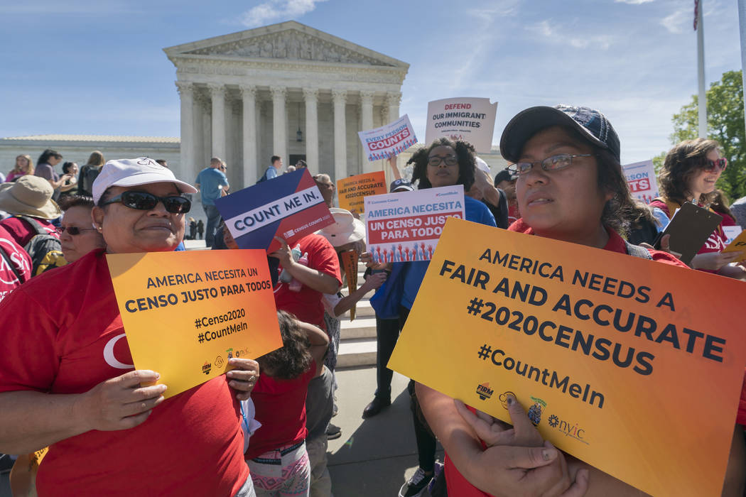 Immigration activists rally April 23, 2019, outside the Supreme Court as the justices hear argu ...