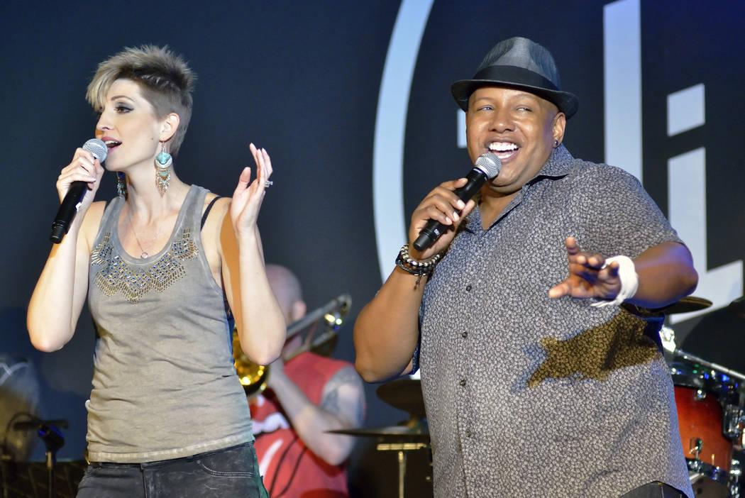 "Kirbi Long, left, and Jassen Allen perform ""Saturday in the Park"" during ""Mondays Dark"" ..."
