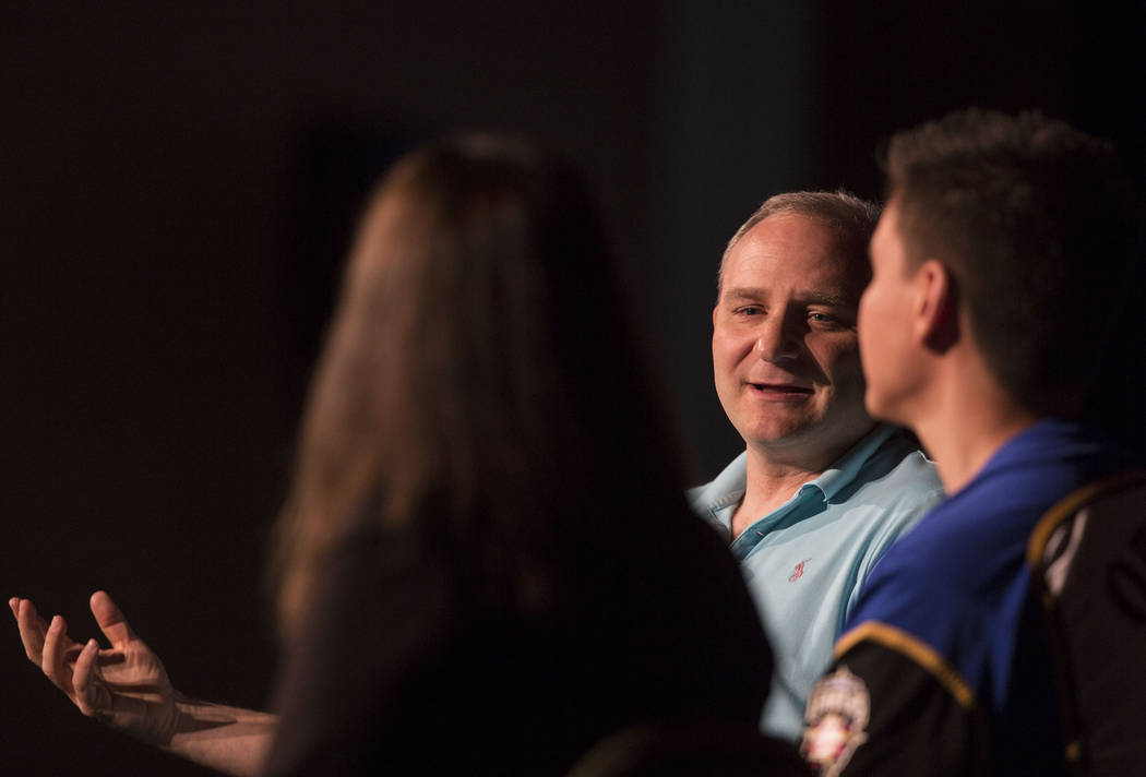Andy Block, middle, former member of the MIT blackjack team, discusses gambling trends with mod ...