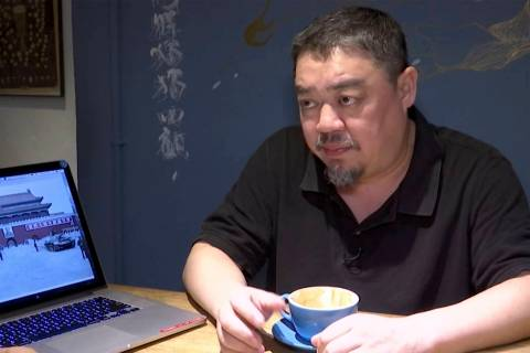 In this image taken from video footage shot on May 22, 2019, Wu'er Kaixi speaks during an inter ...