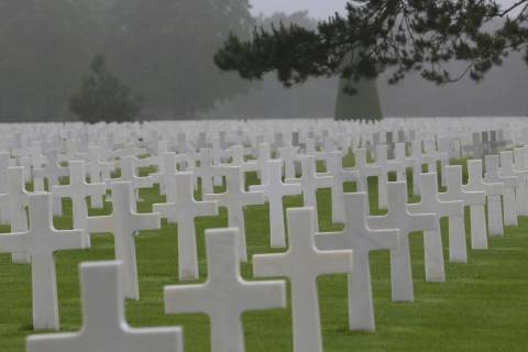 Headstones at the Colleville American military cemetery, in Colleville sur Mer, western France ...
