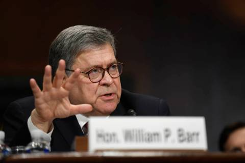 Attorney General William Barr testifies before the Senate Judiciary Committee on Capitol Hill i ...