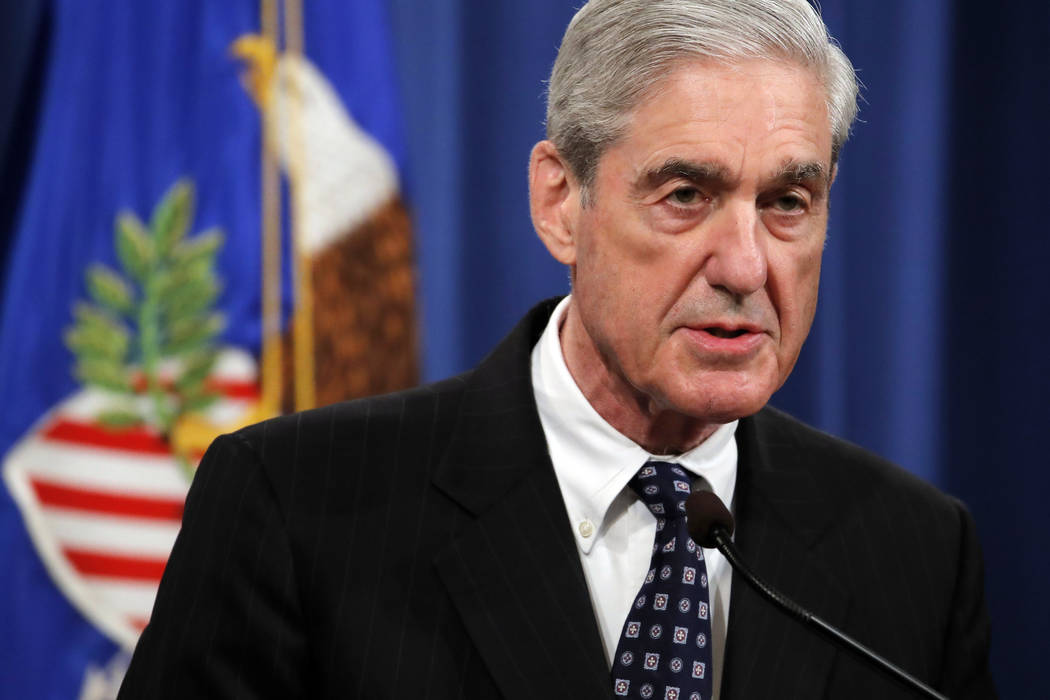 Special counsel Robert Mueller speaks at the Department of Justice Wednesday, May 29, 2019, in ...