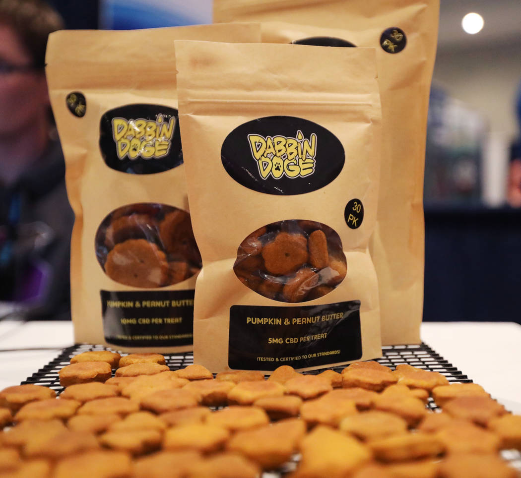 Dog treats are displayed at the Cannabis World Congress & Business Exposition trade show, T ...