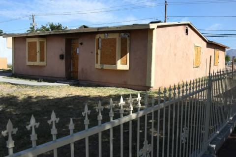 A boarded-up, foreclosed house at 600 Kasper Ave., photographed on Friday, May 31, 2019, in Las ...