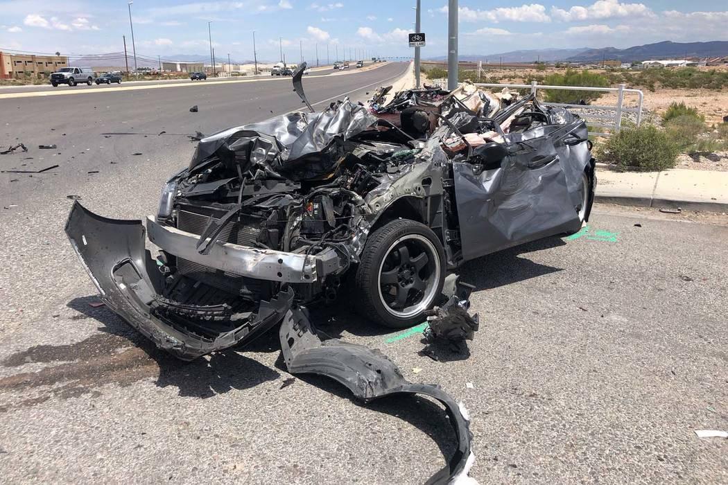 The Nevada Highway Patrol is investigating an injury crash involving a semitrailer hauling doub ...