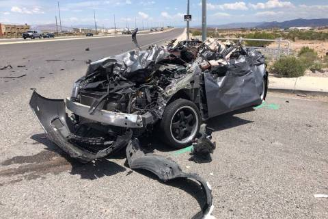 The Nevada Highway Patrol is investigating an injury crash involving a semitrailer hauling doub ...