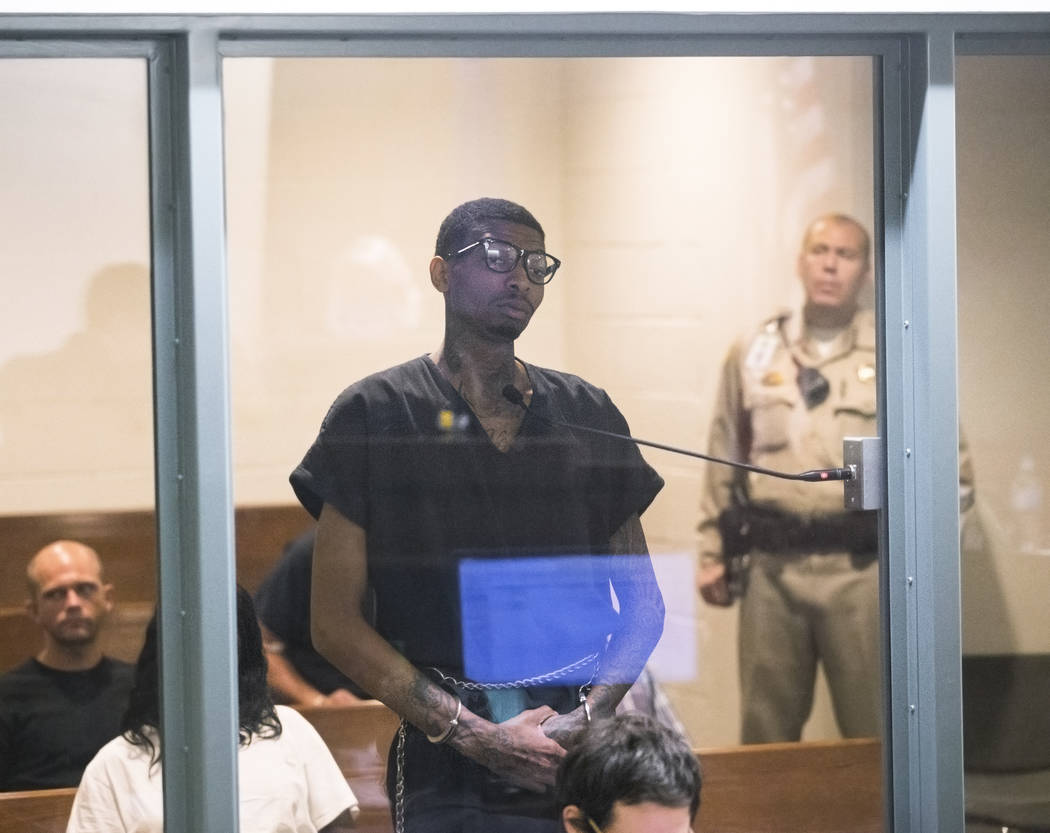 Hasean Quinn makes an appearance in court at the Regional Justice Center for a bail hearing aft ...