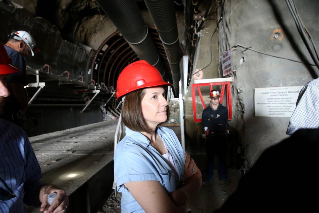 U.S. Sen. Catherine Cortez Masto, D-Nev., gets a tour of Yucca Mountain 90 miles northwest of L ...