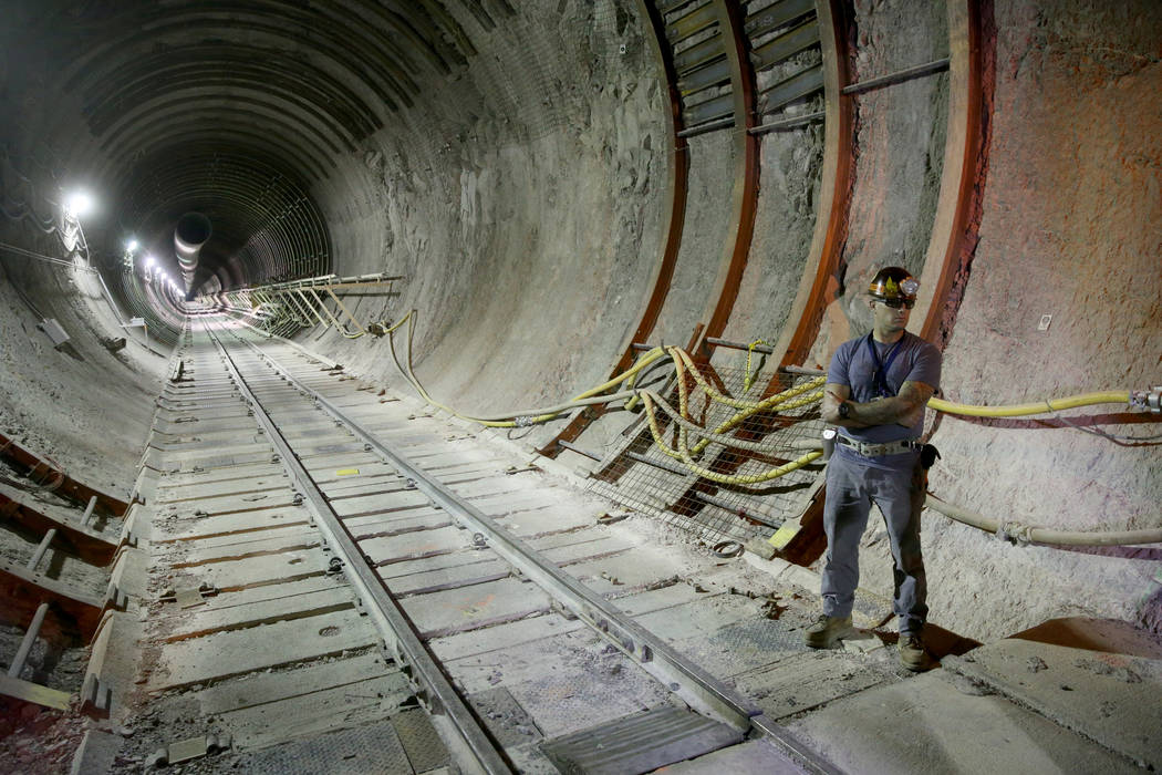 Inside the south portal to a five mile tunnel in Yucca Mountain 90 miles northwest of Las Vegas ...