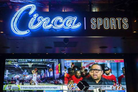 The new sportsbook at Golden Gate on Friday, May 31, 2019, in Las Vegas. (Benjamin Hager/Las Ve ...