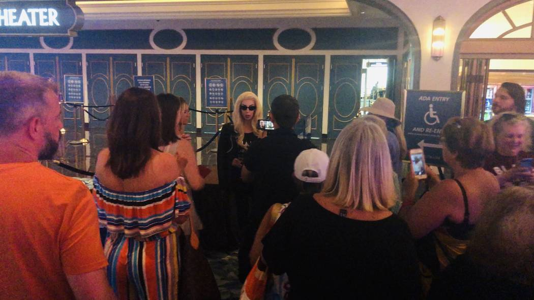 """Legends in Concert"" performer Tierney Allen is shown with Lady Gaga fans at Park Theater at Pa ..."