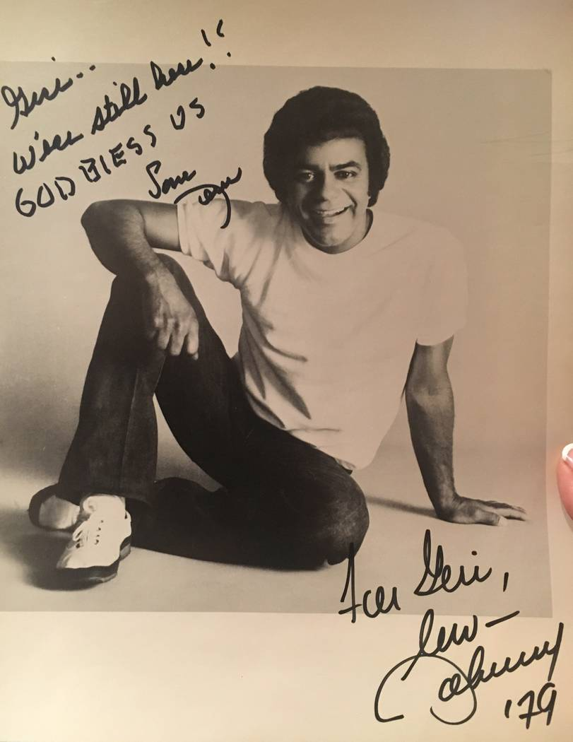 The promotional photo signed by music legend Johnny Mathis for violinist Geri Thompson, 40 year ...