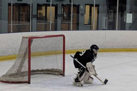 Jake Kielb, who plays on the PeeWee team, is in net at Sobe Ice Arena. (Gina Kielb)