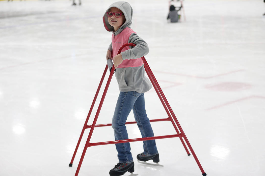 Rura Domineck, 7, of Las Vegas, during the Jake Kielb's Hockey Foundation open skate session at ...