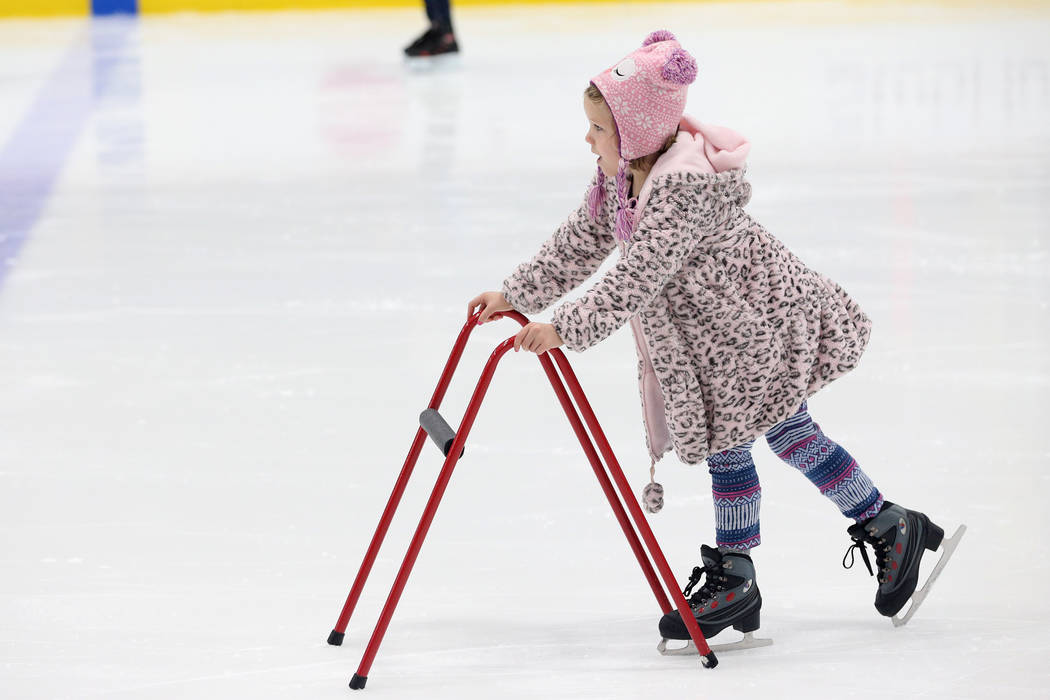 Vivienne Durkin, 7, of Las Vegas, during the Jake Kielb's Hockey Foundation open skate session ...