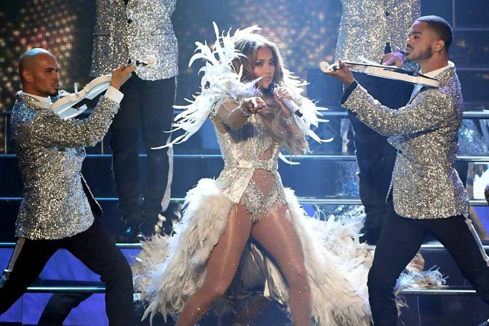 """Jennifer Lopez performs during the finale of her residency, """"Jennifer Lopez: All I Have"""" at Zap ..."""