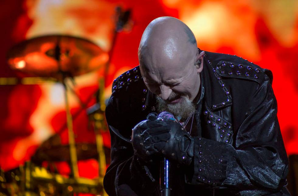 Rob Halford, vocalist of heavy metal band Judas Priest, performs during the Hell and Heaven mus ...