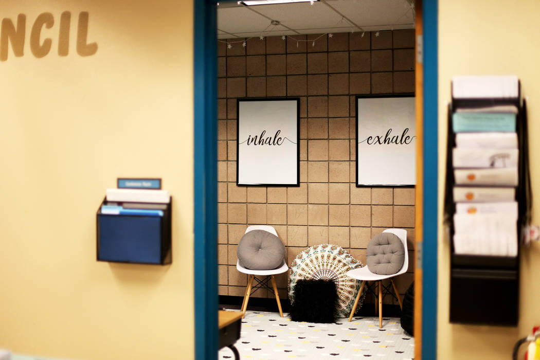 """A """"calming room"""" at Pershing County Elementary School in Lovelock, Nev., Monday, Apri ..."""