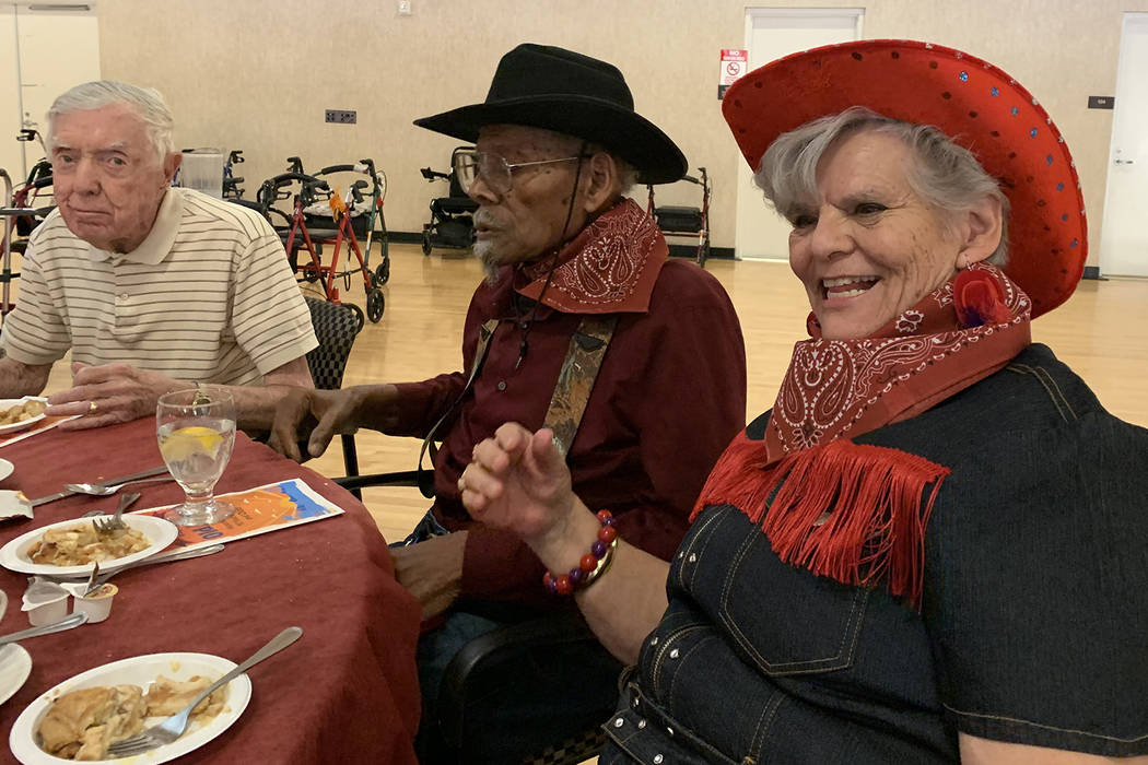 Bernice Gaar, center, and Olga Gaar, right, have attended the 90-plus banquet for around three ...