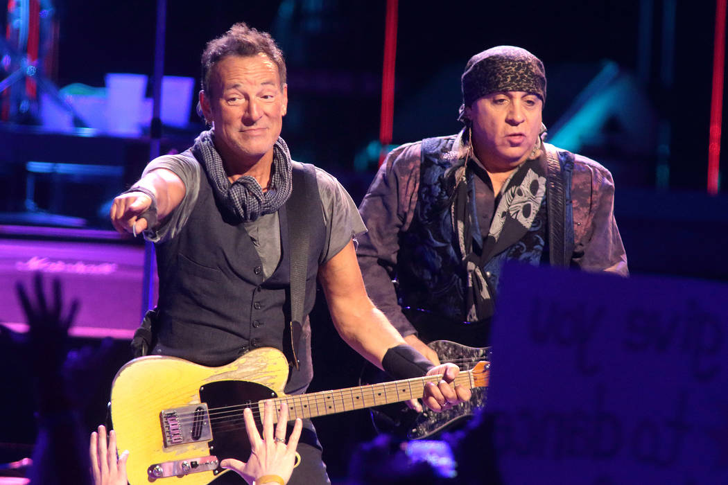 Bruce Springsteen, left, and Steven Van Zandt perform in concert with the E Street Band during ...