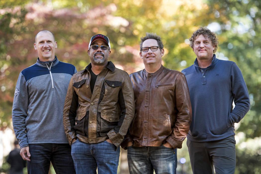 In this Nov. 16, 2018 photo, Jim Sonefeld, from left, Darius Rucker, Dean Felber, and Mark Brya ...