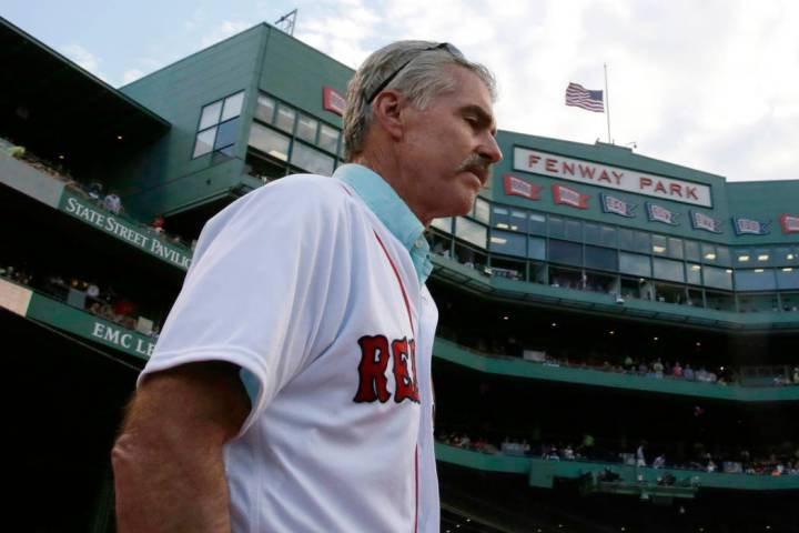 Former Boston Red Sox first baseman Bill Buckner is introduced prior to a baseball game against ...