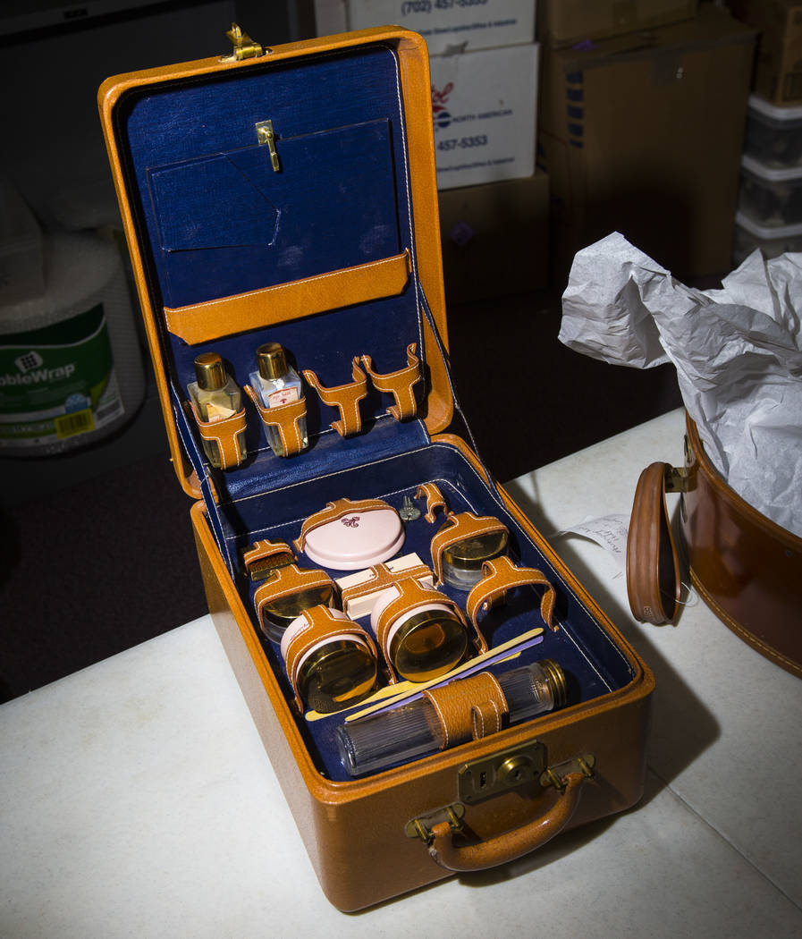Clara Bow's makeup kit, from Walking Box Ranch in Searchlight, is seen at UNLV's Paradise campu ...