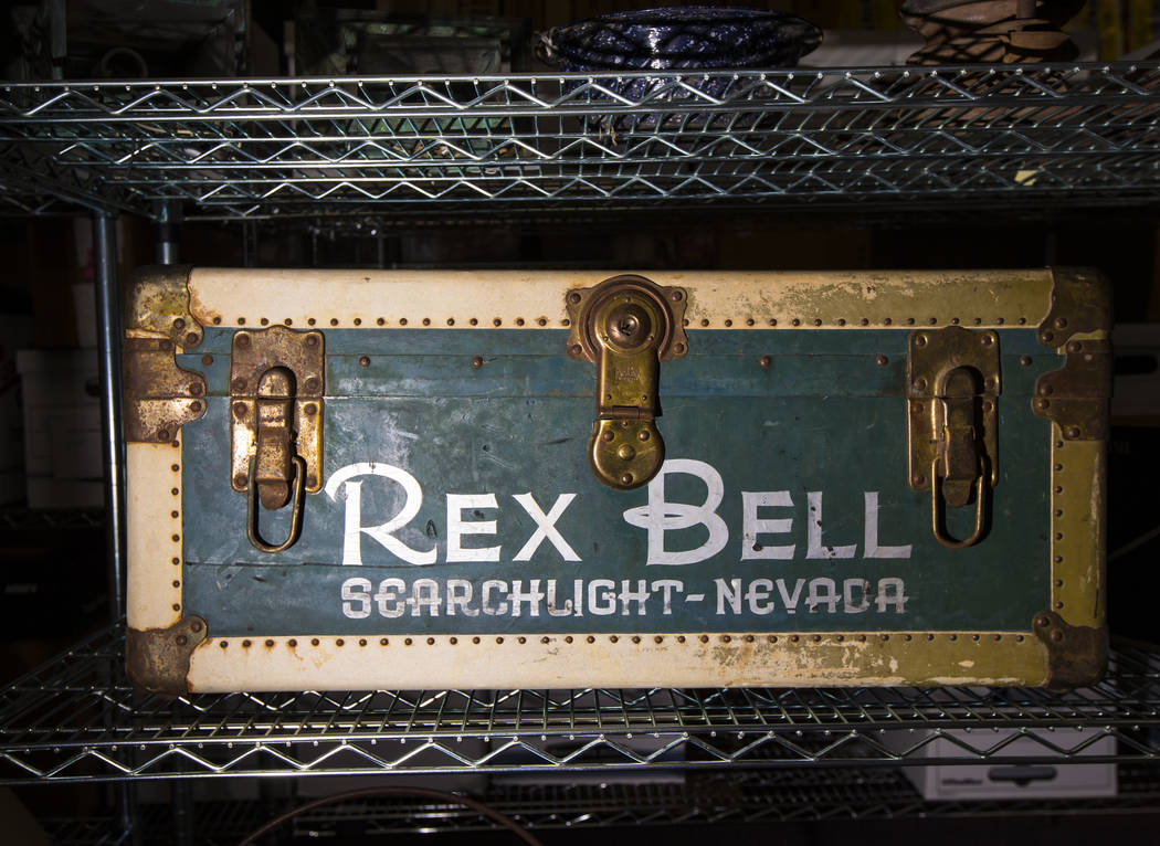 A trunk with Rex Bell's name, from Walking Box Ranch in Searchlight, is seen at UNLV's Paradise ...