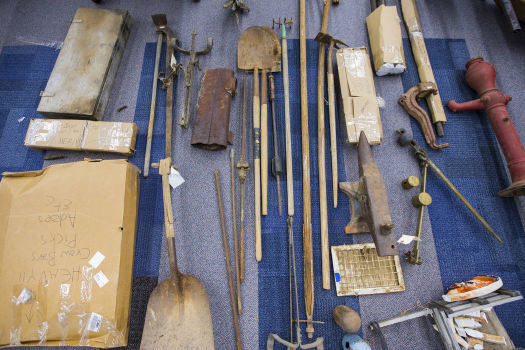 A variety of tools and other items, from Walking Box Ranch in Searchlight, at UNLV's Paradise c ...