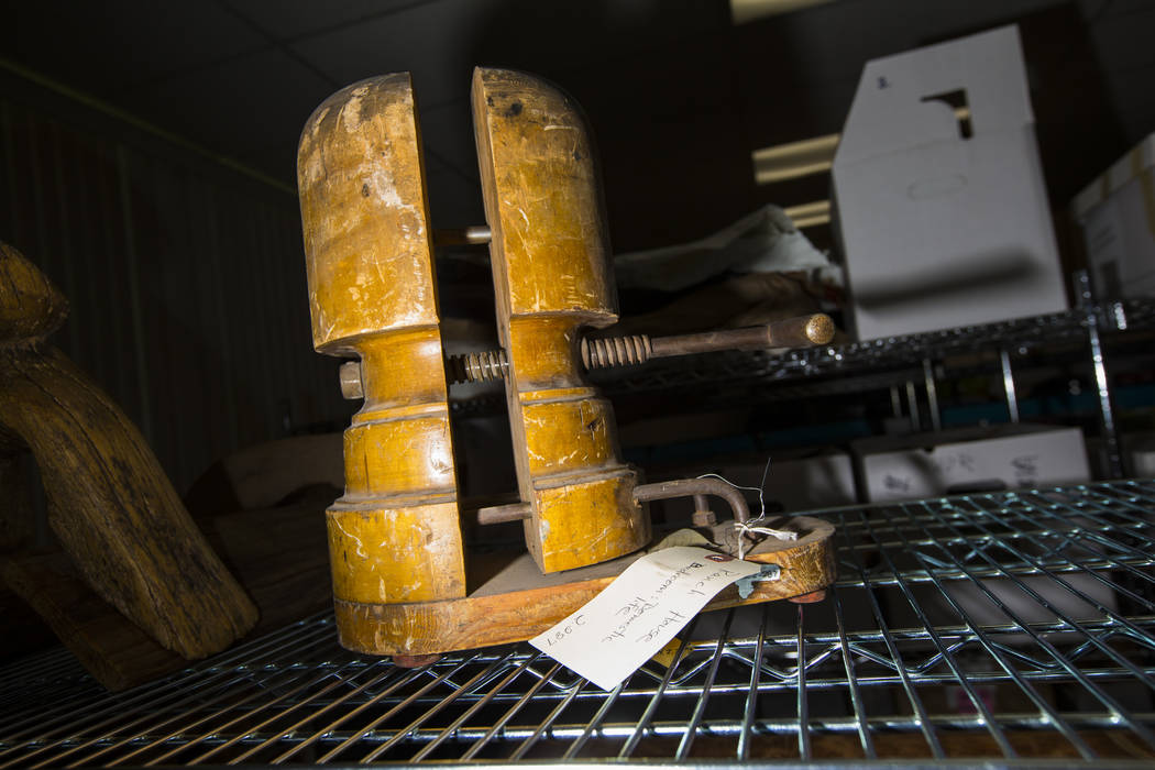 A hat making apparatus, from Walking Box Ranch in Searchlight, is seen at UNLV's Paradise campu ...