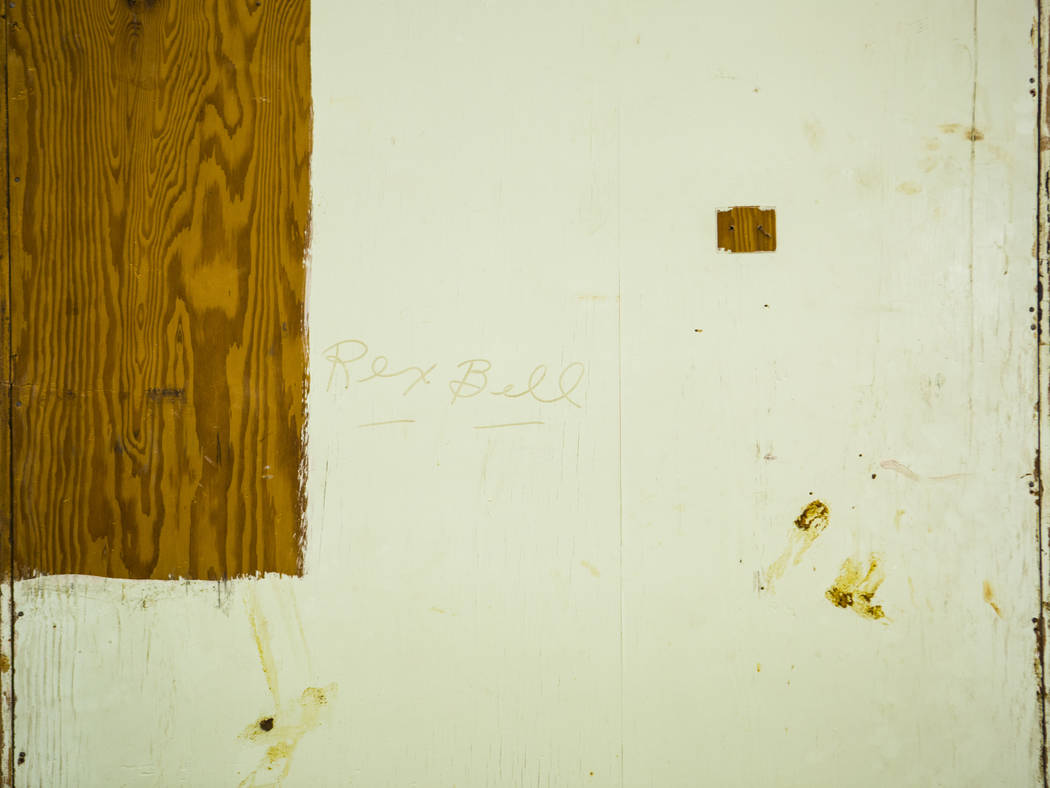 Rex Bell's name is seen on the back of a cabinet from Walking Box Ranch, in Searchlight, at UNL ...