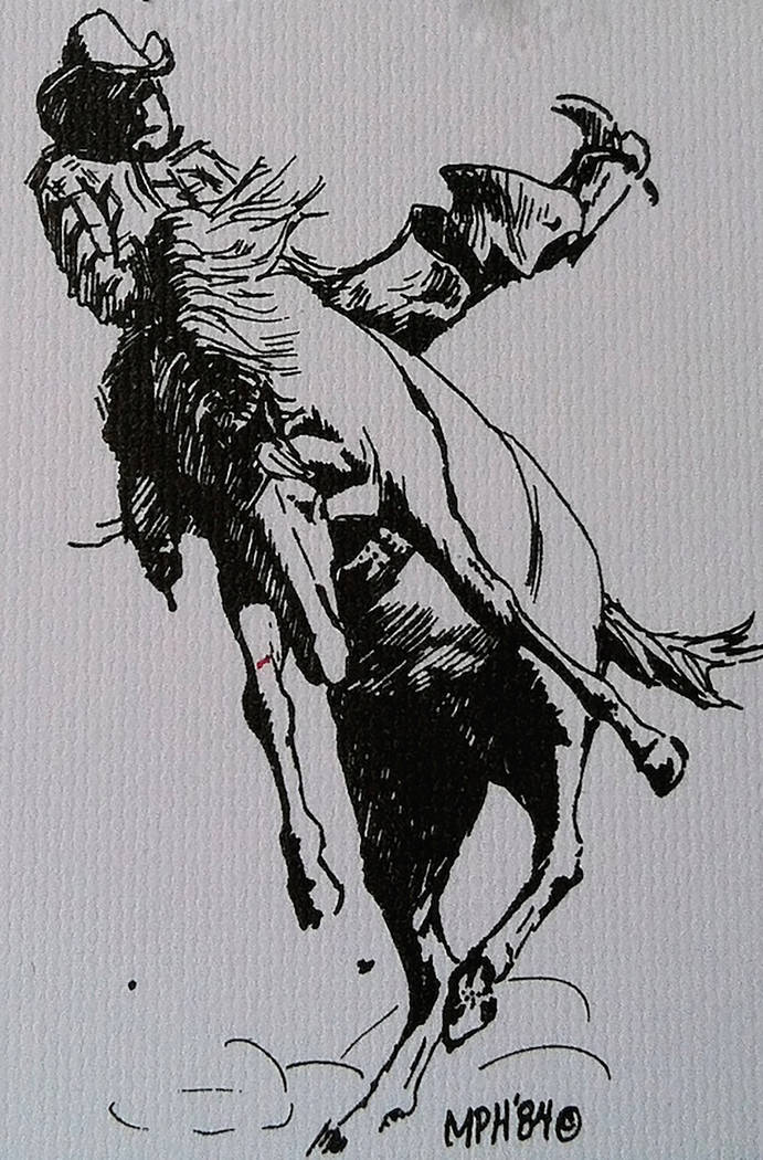 """""""Bronco"""" by Marion """"Happy"""" Hoekenga (pen and ink) on display at Boulder City Art Guild Gallery."""