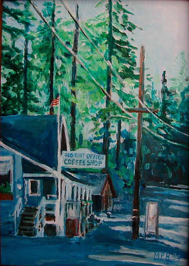 """Tahoe"" by Marion ""Happy"" Hoekenga (acrylic) on display at Boulder City Art Guild Gallery."