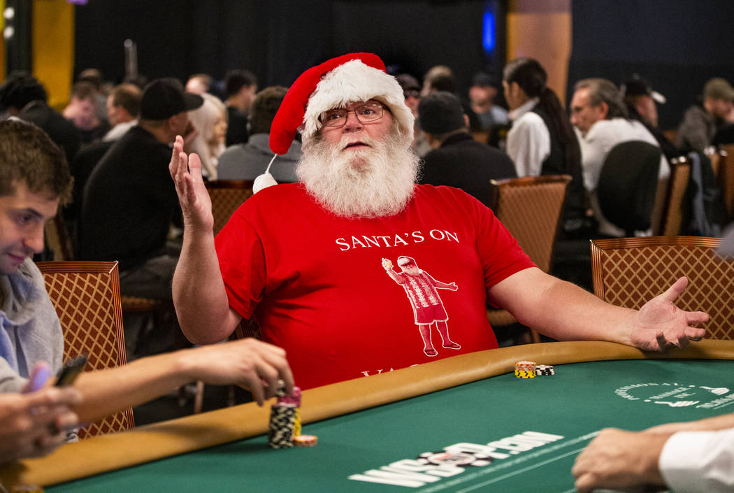 """Jeff """"Nicholas"""" Camp, of Richmond, VA., is dressed as Santa and is pleased to be at t ..."""