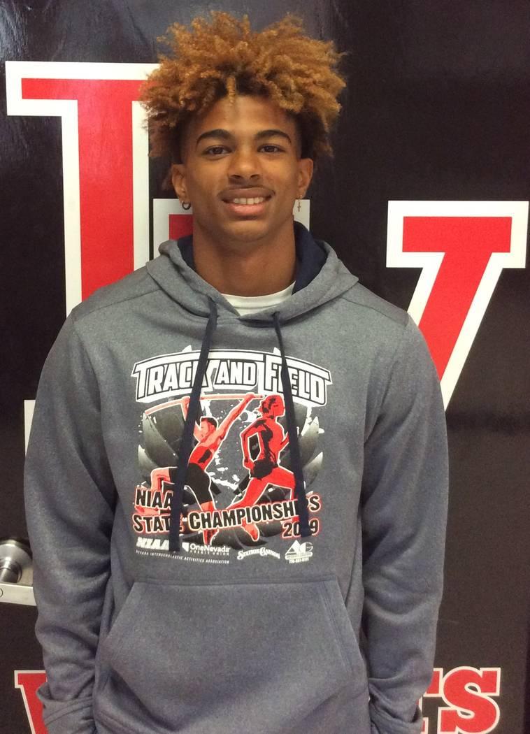 Las Vegas High's Devyn Perkins is a member of the Nevada Preps all-state boys track team.