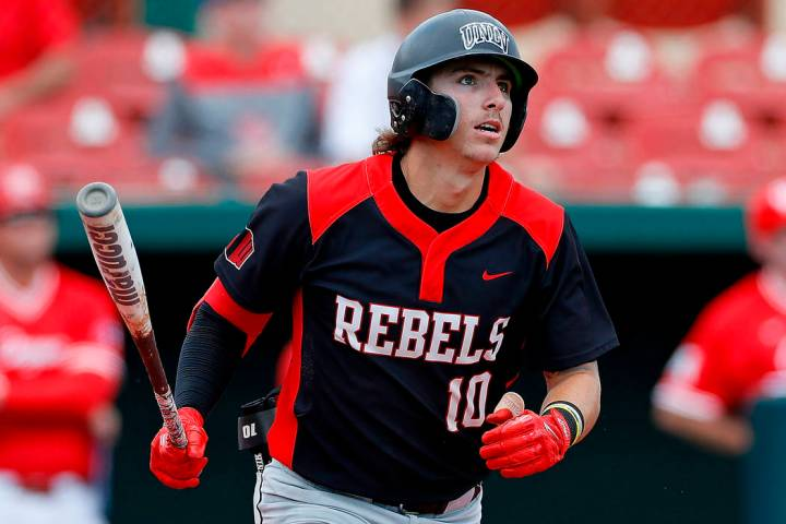 FILE - In this Sunday, May 5, 2019, file photo, UNLV's Bryson Stott (10) watches the ball durin ...