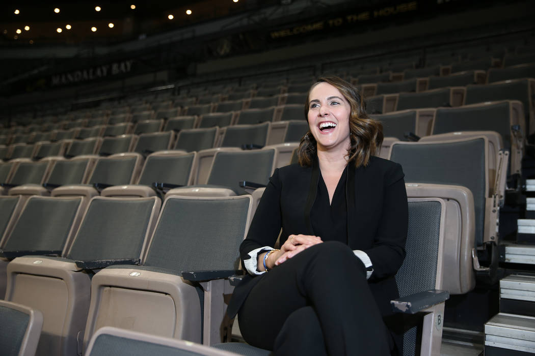 Christine Monjer, assistant general manager for the Las Vegas Aces, at the Mandalay Bay Events ...