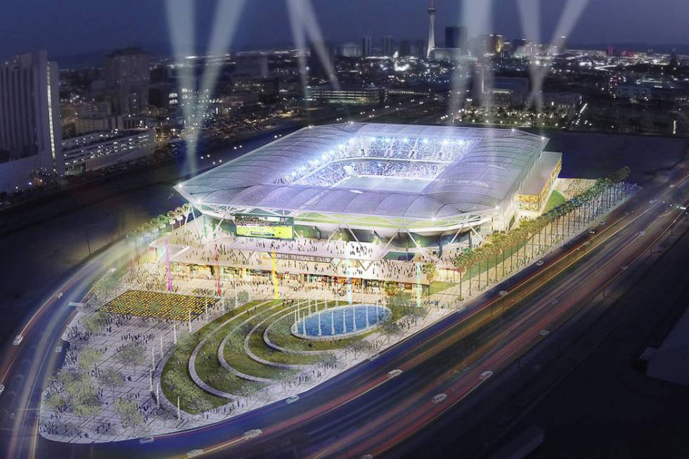 Artists rendering of the Findlay Cordish MLS soccer stadium proposal for Symphony Park for Las ...