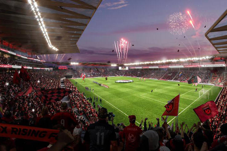 Renderings of the Phoenix Rising FC's stadium proposal. Courtesy Phoenix Rising FC