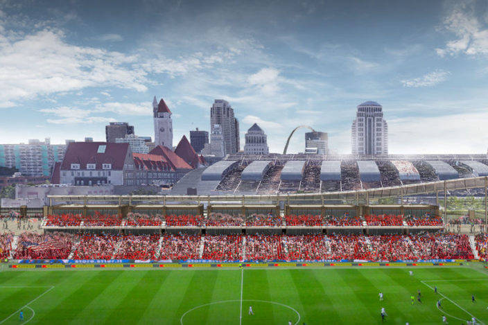 Renderings of the Saint Louis FC's stadium proposal. Courtesy Saint Louis FC