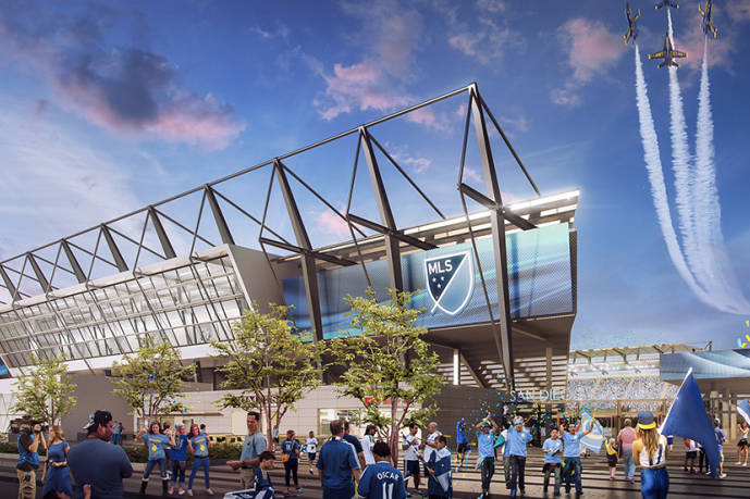 Renderings of the San Diego stadium proposal. Courtesy San Diego MLS bid.