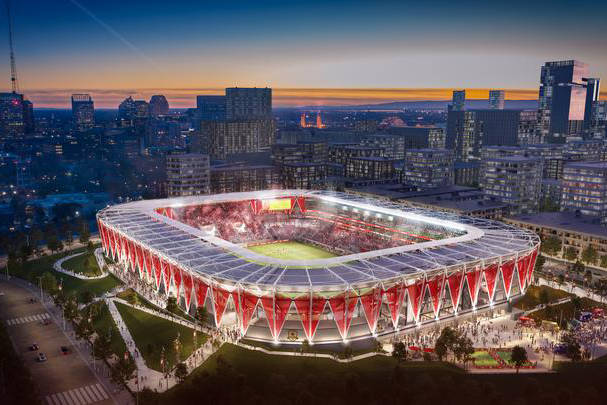 Renderings of the Sacramento Republic FC's stadium proposal. Sacramento Republic.