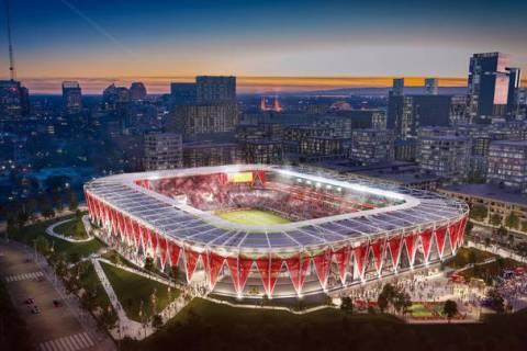 Renderings of the Sacramento Republic FC's stadium proposal. Sacramento Republic.