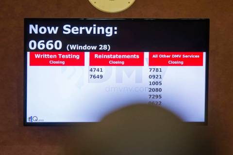 A service monitor at Nevada Department of Motor Vehicles at the Henderson office,1399 American ...