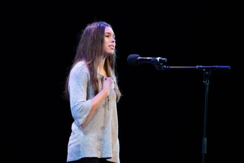 Vanessa Aponte, a recent graduate at Legacy High School and state winner of the Poetry Out Loud ...