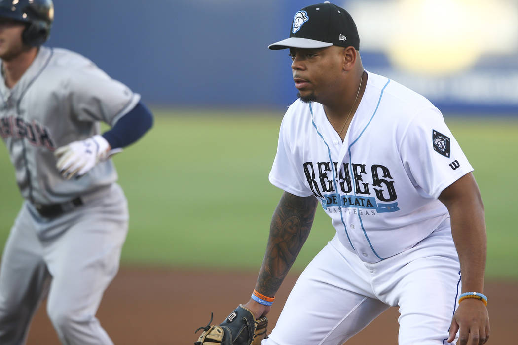 "Las Vegas 51s' Dominic Smith during the debut of the ""Reyes de Plata"" (Silver Kings), ..."