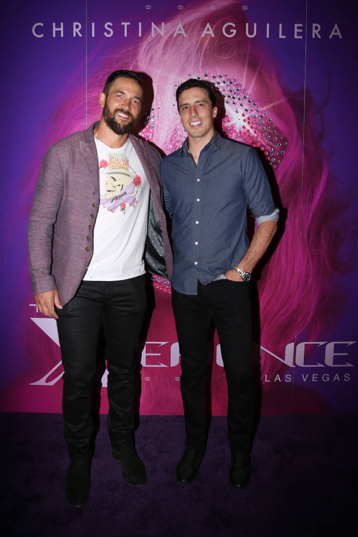 Vegas Golden Knights players Deryk Engelland, left, and Marc-Andre Fleury, on the red carpet fo ...