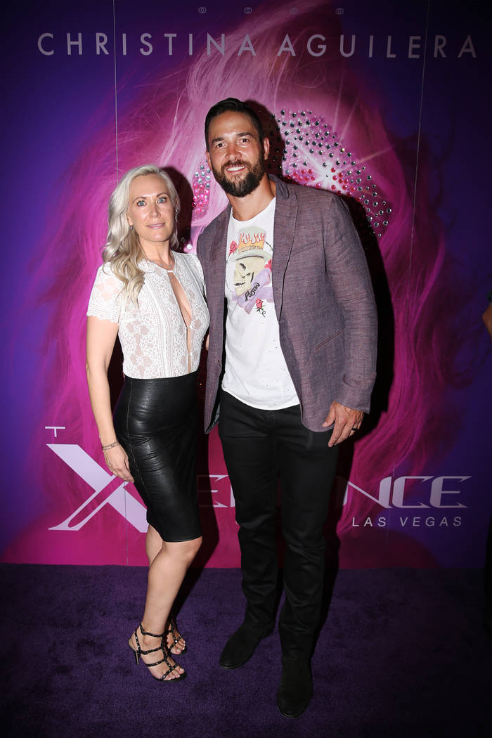 Deryk Engelland, right, with his wife Melissa, on the red carpet for the grand opening of Chris ...