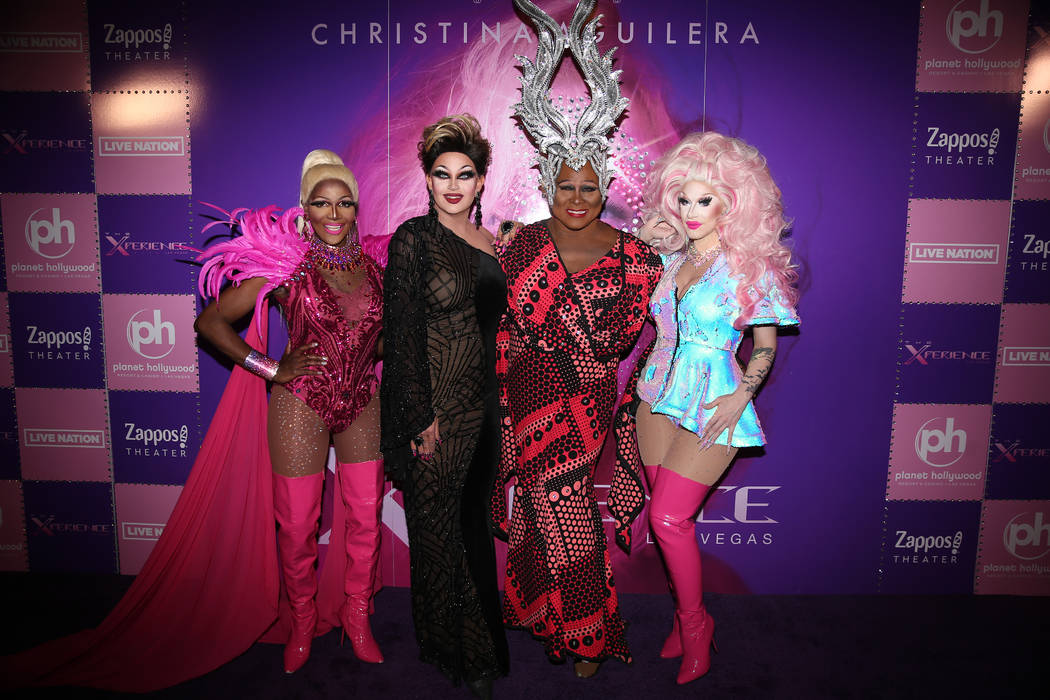 Coco Montrese, from left, Shannel, Larry Edwards, and London Adour, on the red carpet for the g ...